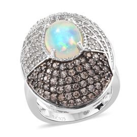 GP 3.75 Ct Ethiopian Welo Opal and Multi Gemstone Cluster Ring in Platinum Plated Silver 9.01 Grams