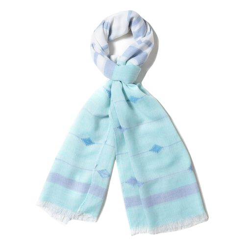 Mint Green and Multi Colour Strip and Rhombus Pattern Scarf (Size 190x70 Cm)