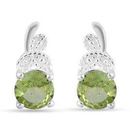 Peridot Earrings (with Push Back) in Sterling Silver 1.50 Ct.