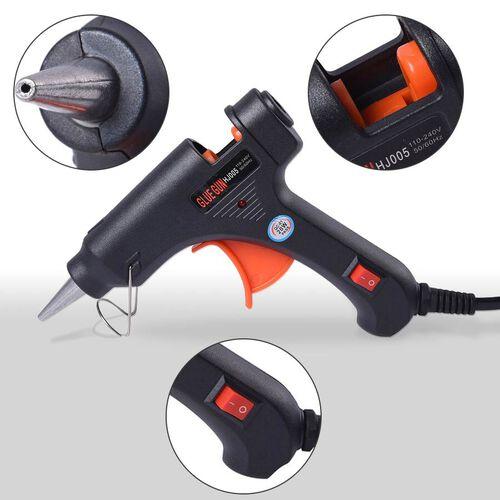 20 Watt Hot Melt Glue Gun Kit with 30pcs Glue Sticks for School DIY Art & Craft Projects and Home Quick Repairs (Size 13x11x3cm) - Black