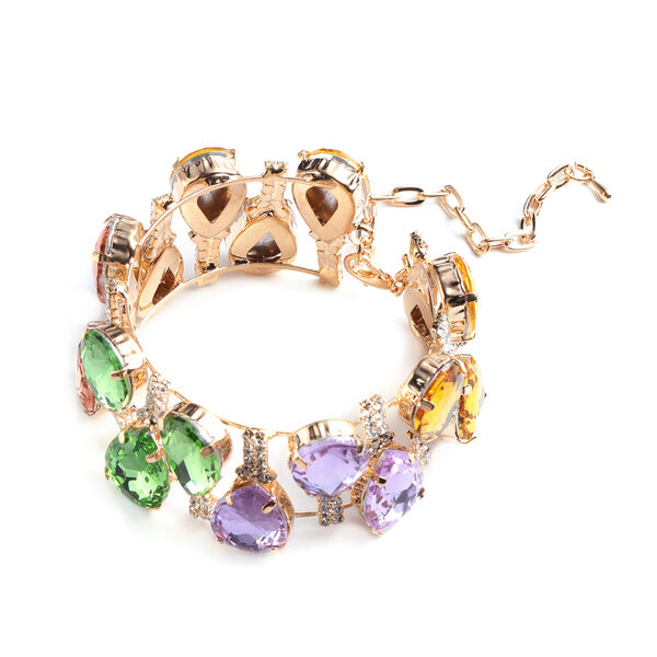 Multi Colour Simulated Gemstone and White Austrian Crystal Bangle (Size 6.5 with Extender) in Yellow Gold Tone