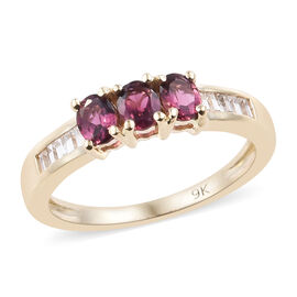 9K Yellow Gold AA Ouro Fino Rubelite (Ovl), Natural Cambodian Zircon Ring 0.750 Ct.