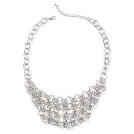 White Austrian Crystal Collar Necklace in Silver Plated 20 Inch