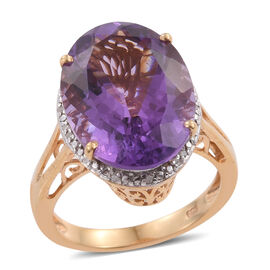 One Time Deal- Lusaka Amethyst (Ovl), Diamond Ring in 14K Gold Overlay Sterling Silver 12.150 Ct.