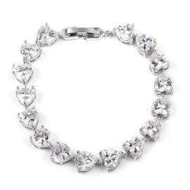 Simulated Diamond Heart Cut Bracelet (Size 7.25) in Silver Plated