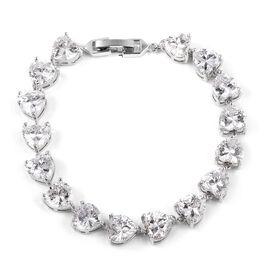 Simulated Diamond Heart  Bracelet in Silver Tone Size 7.25 Inch