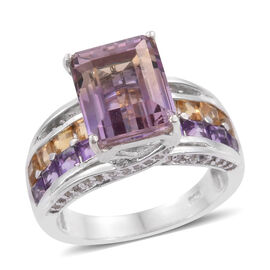 Limited Edition - Anahi Ametrine (Oct 4.40 Ct), Citrine, Amethyst and White Zircon Ring (Size Q) in Platinum