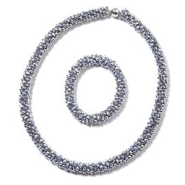 2 Piece Set Simulated Grey Spinel Beaded Necklace 20 Inch and Stretchable Bracelet 6.5 Inch
