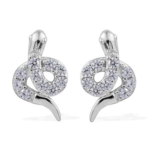 J Francis - Platinum Overlay Sterling Silver (Rnd) Snake Earrings (with Push Back) Made with SWAROVSKI ZIRCONIA