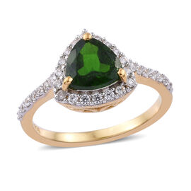 1.75 Ct Russian Diopside and Cambodian Zircon Halo Ring in Gold Plated Sterling Silver