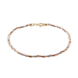 Royal Bali Collection - 9K Tricolour Gold Bracelet (Size 7.5) with Lobster Clasp, Gold Wt 3.59 Gms