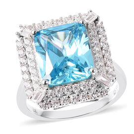 ELANZA Simulated Sky Blue Topaz and Simulated White Diamond Ring in Platinum Overlay Sterling Silver