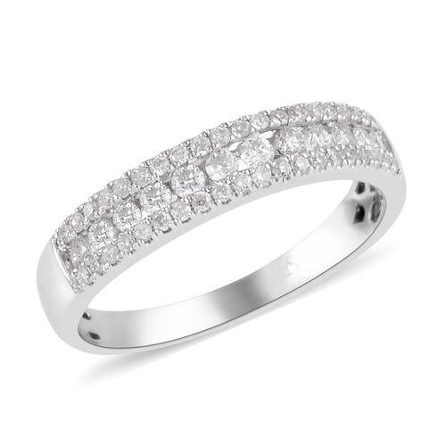 New York Close Out- 14K White Gold Diamond (Rnd) (I2 / G-H) Ring 0.504 Ct.