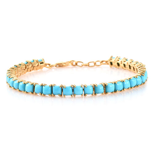 AA  Arizona Sleeping Beauty Turquoise (Sqr) Bracelet (Size 7.5) in 14K Gold Overlay Sterling Silver 7.000 Ct, Silver wt 12.00 Gms.