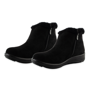 Suedette Warm Lined Ankle Boots with Button Details (Size 3) - Black
