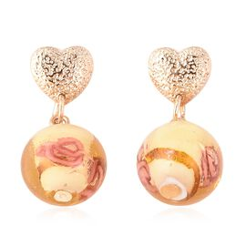 Champagne Colour Murano Glass Earrings (with Push Back) in Gold Tone