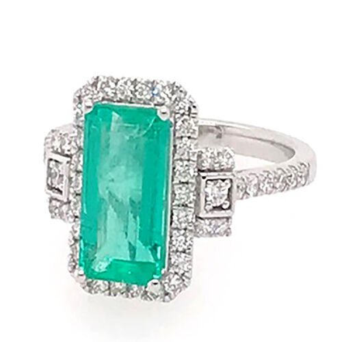 RHAPSODY 950 Platinum AAAA Boyaca Colombian Emerald (Oct 11.33x6.30mm), Diamond (VS/E-F) Ring 3.50 C