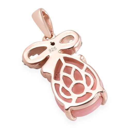 Peruvian Pink Opal (Pear 3.95 Ct), Natural Cambodian Zircon Pendant in Rose Gold Overlay Sterling Silver 4.250 Ct.