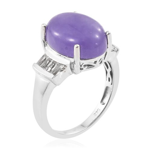 Purple Jade (Ovl), White Topaz Ring in Platinum Overlay Sterling Silver 11.250 Ct.