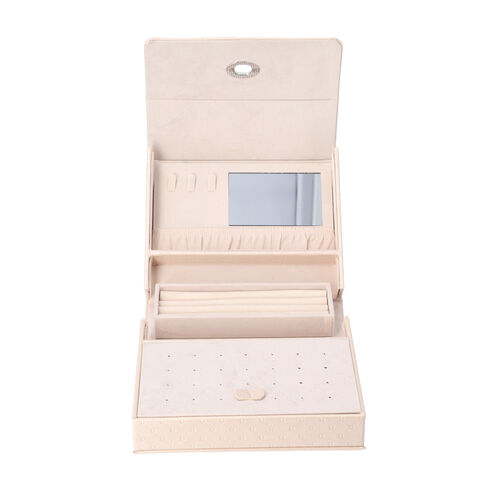 Embossed Quilted Pattern Handbag Style Anti-Tarnish Jewellery Organizer with Inside Mirror and Oval Twist Lock (Size- 22X7.5X18 cm) - Cream