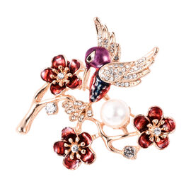 Simulated Pearl, Black and White Austrian Crystal Enamelled Hummingbird Brooch in Gold Tone