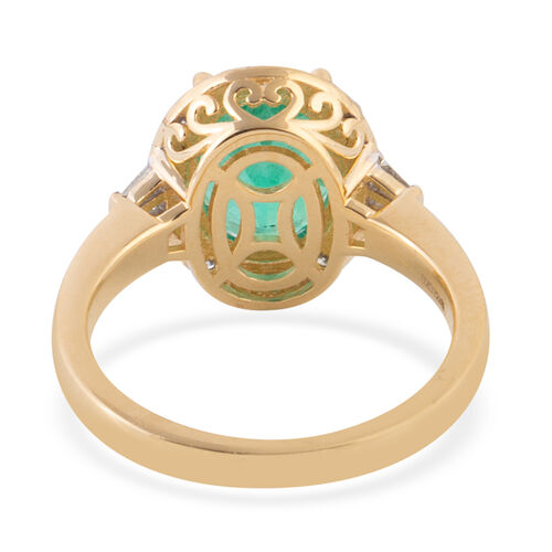 ILIANA 18K Yellow Gold AAA Boyaca Colombian Emerald (Ovl), Diamond (SI/G-H) Ring 3.415 Ct.