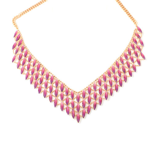 Simulated Ruby Waterfall BIB Necklace in Gold Tone 20 with 3 inch Extender