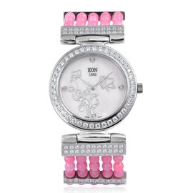 EON 1962 Swiss Movement Diamond Studded MOP Dial Watch with Simulated White Diamond in Silver  Plate