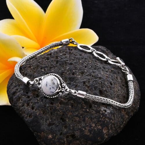 Royal Bali Collection - Dendritic Agate Tulang Naga Bracelet (Size 8 with Extender) in Sterling Silver 3.57 Ct, Silver wt 9.27 Gms