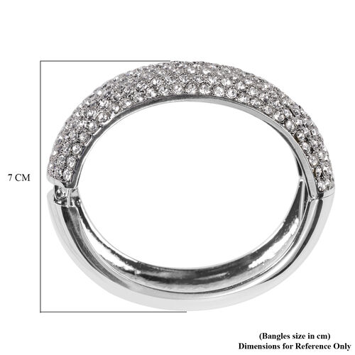 White Austrian Crystal Bangle in Silver Tone
