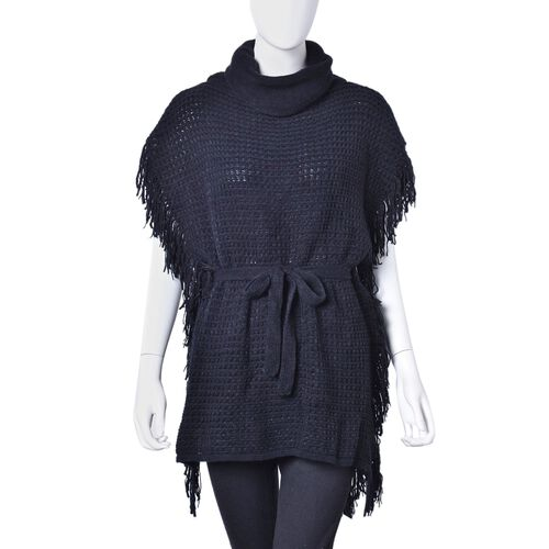 Black Colour Poncho with Waistband (Size 65X55 Cm)