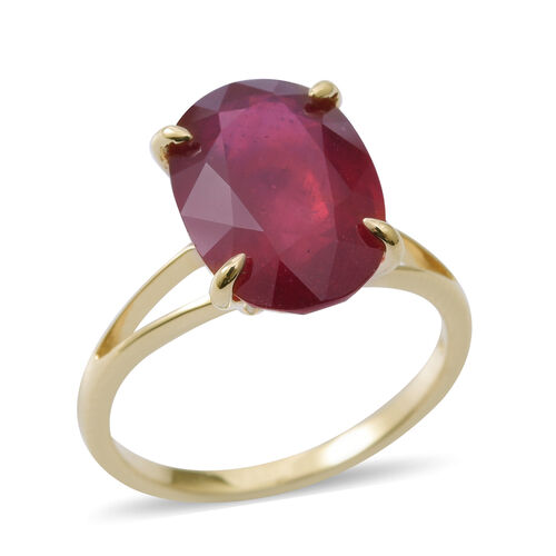 9K Yellow Gold AAA Rare Size African Ruby (Ovl) Solitaire Ring 8.500 Ct.