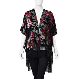 Pink and Black Colour Blossom Pattern Kimono with Long Tassels (Free Size; L-66 Cm)