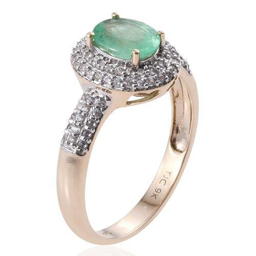 GP 9K Y Gold Boyaca Colombian Emerald (Ovl 1.00 Ct), Natural Cambodian Zircon and Kanchanaburi Blue Sapphire Ring 1.750 Ct.