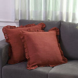Set of 2 Cotton Linen Solid Cushion Cover with Ruffled Flange (Size - 45x4 Cm) - Rust