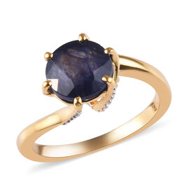 GP 2.97 Ct Twist Ring Masoala Sapphire and Blue Sapphire Solitaire Ring in Gold Plated Silver