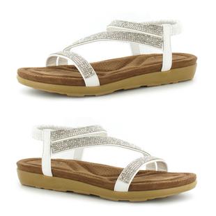 ELLA Joanna Ladies Diamante Sandal with Elasticated Strap in White