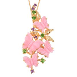 Jardin Collection - Pink Mother of Pearl, Russian Diopside and Amethyst Butterfly Pendant With Chain
