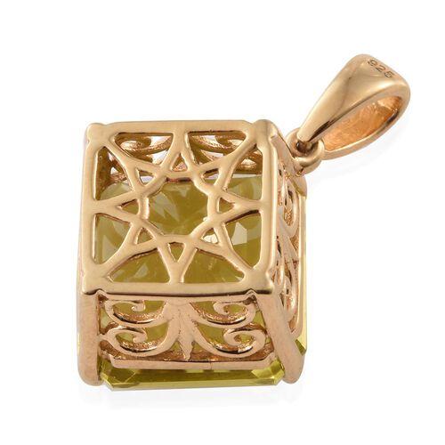 ASSCHER CUT Natural Ouro Verde Quartz Pendant in 14K Gold Overlay Sterling Silver 12.000 Ct.