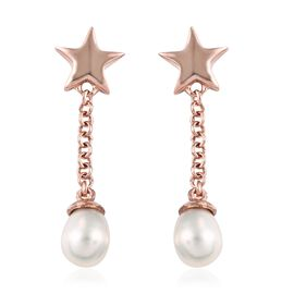 Freshwater Pearl Star Earrings (with Push Back) in Rose Gold Overlay Sterling Silver