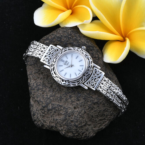 Royal Bali Collection EON 1962 Swiss Movement Watch (Size 7) with Hand Made Borobudur Chain in Oxidised Sterling Silver, Silver wt. 32.00 Gms