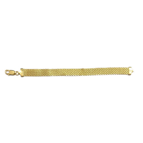 JCK Vegas Collection 14K Gold Overlay Sterling Silver Bismark Bracelet (Size 7.5), Silver wt 7.47 Gms.