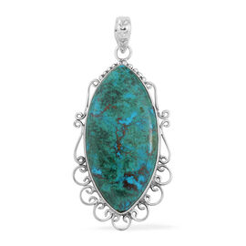 48.5 Ct Handmade Chrysocolla Solitaire Pendant in Sterling Silver