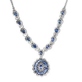 Ceylon Sapphire Cluster Necklace (Size 18) in Platinum Overlay Sterling Silver 3.79 Ct, Silver wt. 1