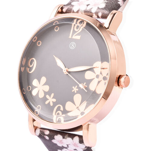 STRADA Japanese Movement Water Resistant Floral Motif Adorned Watch - Chocolate