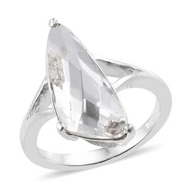 J Francis Crystal From Swarovski White Crystal Ring in Platinum Overlay Sterling Silver