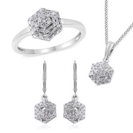 3 Piece Set - Diamond (rnd and Bgt) Pendant with Chain (Size 18), Lever Back Earrings and Ring in Pl