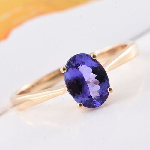 ILIANA 18K Yellow Gold AAA Tanzanite (Ovl) Solitaire Ring 1.500 Ct. Gold Wt 3.01 Gms