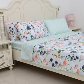 6 Piece Set - Mint Colour Floral Pattern Duvet Cover (Size 200x200 Cm), 4 Pillow Case (Size 4x50x70+