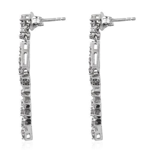 Designer Inspired- Diamond (Rnd) Dangling Earrings (with Push Back) in Platinum Overlay Sterling Silver 0.500 Ct.